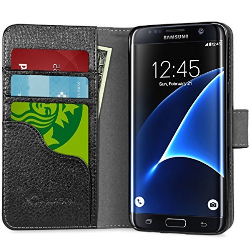 Galaxy S7 Edge Case, [Wallet Case] SupcaseKickStand Samsung Galaxy S7 Edge Case 2016 Release [Kickstand] Leather Cover with Credit Card ID Holders (Black) ()