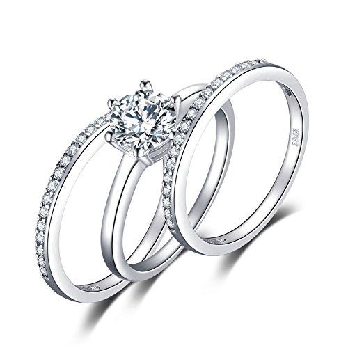 JewelryPalace - Juego de Anillos de Compromiso de Plata de Ley 925 con circonita cúbica DE 1,5 Quilates, 3 Unidades 6