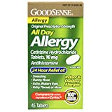 GoodSense All Day Allergy, Cetirizine HCl Tablets, 10 mg Antihistamine, 45 Count
