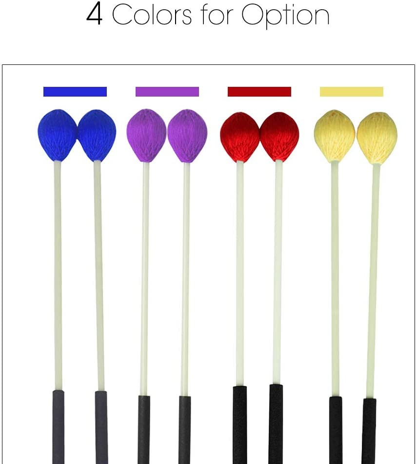 Festnight Baguettes primaires de b/âton de Marimba Maillets de Xylophone Glockensplel avec poign/ée en fibre de verre Accessoires pour percussions Accessoires pour professionnels Amateurs 1 paire Rouge