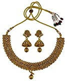 Matra Ethnic Indian Traditional Goldtone Choker Necklace Earring Set Wedding Jewelry