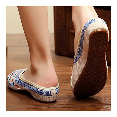 beige Old Increased Sandals Cloth within Beijing Vintage 40 Embroidered Shoes qwA61p