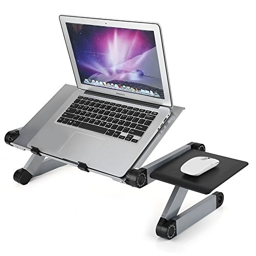 - Adjustable Laptop Stand, Foldable Standing Desk at Office Portable Computer Holder with 2 CPU Cooling Fans and Mouse Pad for Writing Cozy Desk in Bed or on The Sofa (Sliver)