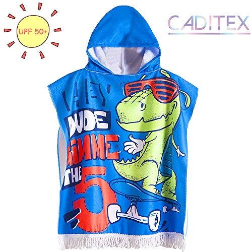 CADITEX Toddler Hooded Beach Bath Towel - Kids Hooded Bath/Beach Towel Girls Boys Cute Cartoon Animal Full Vitality (Skateboard Dinosaur)
