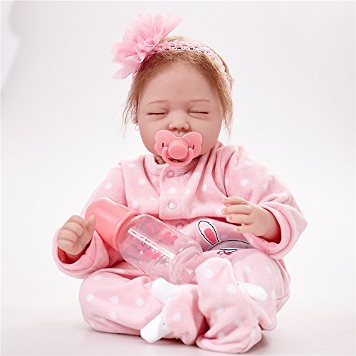 Reborn Baby Dolls Newborn Lifelike - Sleeping Girl Soft Silicone Vinyl 22 Inch Dolls Weighted Body Partner Toy Cute Girl with Accessories (Pink 55cm)