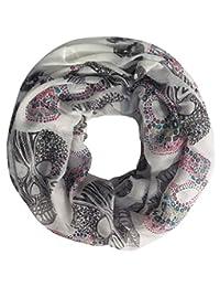 Lina & Lily Sugar Skull Print Women's Infinity Loop Scarf (White)