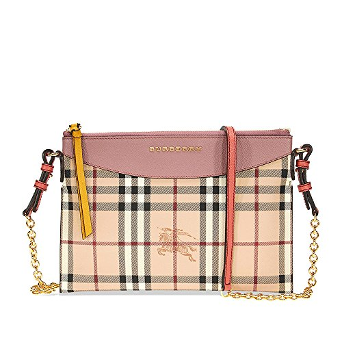 Burberry Haymarket Check and Two Tone Leather Clutch - Dusty Pink / Multi by BURBERRY