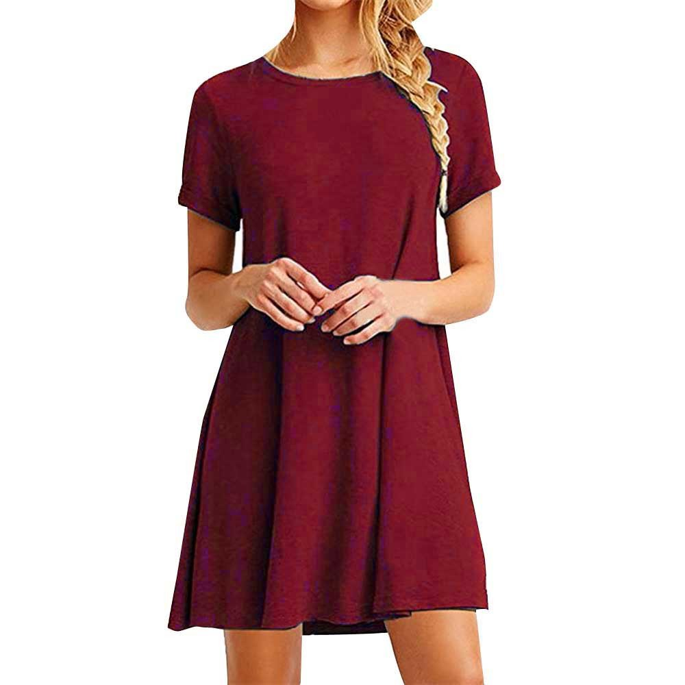 YAliDa 2019 clearance sale Women Loose Casual O-Neck Short Sleeves Ruffles Mini Dress (Small,WineRed)