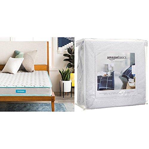Linenspa 6 Inch Innerspring Mattress - Twin with AmazonBasics Hypoallergenic Vinyl-Free Waterproof Mattress Protector, Twin by Linenspa