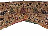 NovaHaat Dark Khaki Hand Embroidered Valance Toran ~ Huge Vintage Mirror Work Kutch Prosperity Doorway Topper Gate with Ganesha, Lakshmi and Peacocks ~ 83'' L x 59'' W