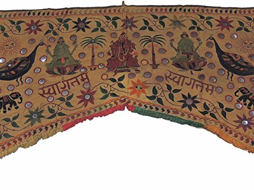 NovaHaat Dark Khaki Hand Embroidered Valance Toran ~ Huge Vintage Mirror Work Kutch Prosperity Doorway Topper Gate with Ganesha, Lakshmi and Peacocks ~ 83'' L x 59'' W by NovaHaat