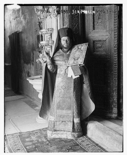 Photo: Greek Priest,Jerusalem,Israel,Religious,Bain News Service,traditional dress
