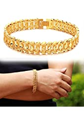 Suyi Men's 18K Gold Plated Link Bracelet Classic Carving Wrist Chain Link Bangle
