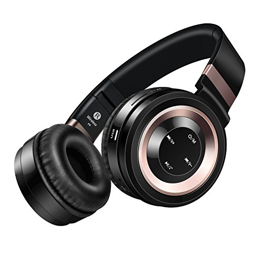 JUNWER Active Noise Cancelling Headphone Bluetooth Headphones Microphone Hi-Fi Deep Bass Wireless Headphones Over Ear 30H Playtime Travel Work TV Computer Phone