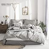 garnet hill bed linens  100% Stone Washed Linen Solid Color Basic Style King Queen Twin Full Duvet Cover Sets (Grey, King)