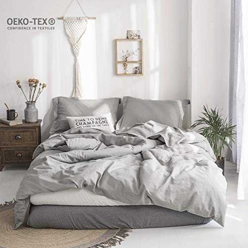 100% Stone Washed Linen Solid Color Basic Style King Queen Twin Full Duvet Cover Sets (Grey, King)