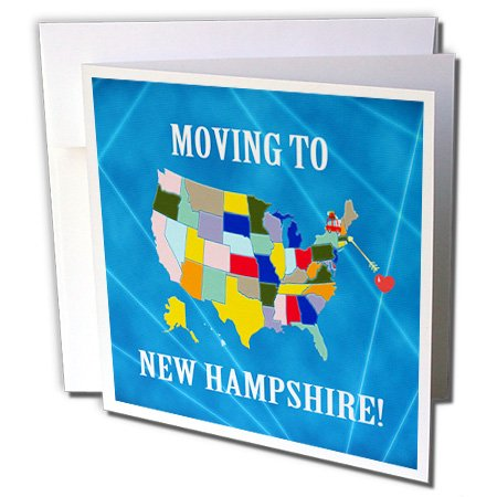 Map Moving Announcement (Beverly Turner Moving to - United States Map, Moving to New Hampshire, Heart and Car, Luggage - 12 Greeting Cards with envelopes (gc_233576_2))