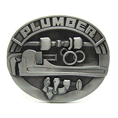 Vintage Plumber Plumbing Occupation Metal Belt Buckle Wrench Repairman Cowboy