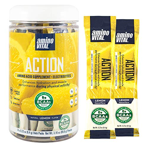 Amino VITAL Action- BCAA Amino Acids Pre Workout Packets with Electrolytes for Energy | No Caffeine, Keto, Vegan…