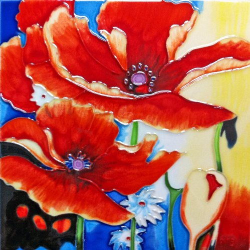 Continental Art Center BD-0222 8 by 8-Inch Two Red and Yellow Poppy Flowers with Multi Color Background Ceramic Art Tile