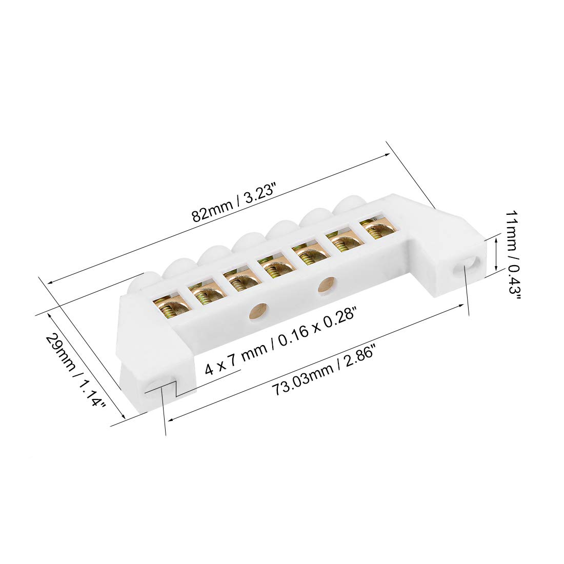 uxcell 5 Positions Copper Screw Terminal Block Barrier Strip Connector Single Row Bridge Shape for Electrical Distribution