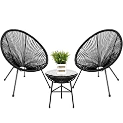 Garden and Outdoor Best Choice Products 3-Piece Outdoor Acapulco All-Weather Patio Conversation Bistro Set w/Plastic Rope, Glass Top Table…