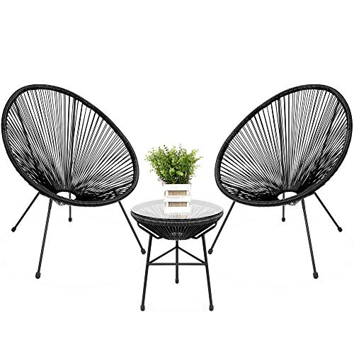 Best Choice Products 3-Piece Outdoor Acapulco Woven Rope Patio Conversation Bistro Set with Glass Top Table and 2 Chairs