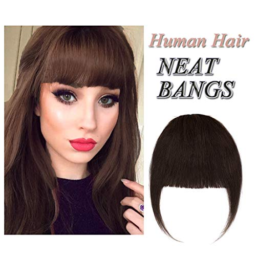 Clip in Human Hair Fringe with Temple Front Neat Bangs Hair Extension Thick Full Tied Bangs Flat Fringe Hair Piece for Women One Piece #02 Dark Brown
