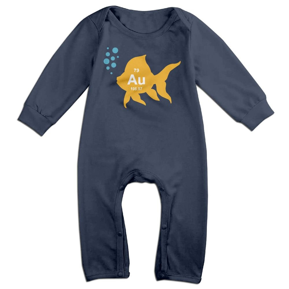 Mri-le1 Baby Boy Long Sleeved Coveralls Periodic Table Elemental Gold Fish Baby Rompers