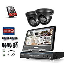 SANNCE 4 Channel 720P Security Camera System DVR Built-in 10.1 LCD with 1TB Surveillance Hard Drive and (2) 1.0MP Weatherproof Outdoor CCTV Dome Cameras, Support Night Vision and Remote Access
