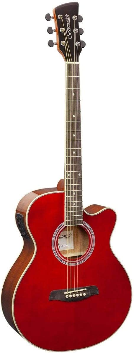 Brunswick Cutaway Electroacoustic estilo folk guitarra, rojo