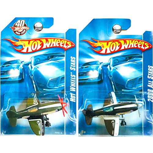 Hot Wheels All Stars Mad Propz Airplane in Green and Black 40th Anniversary Set of 2 (Hot Wheels Set Airplane)
