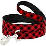 Buckle-Down DL-6FT-W30432 Dog Leash, Diagonal Buffalo Plaid Black/Red, 6'