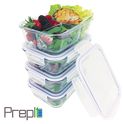 Amazoncom 34oz 4 Pack Premium Glass Meal Prep Containers 3