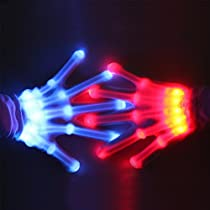 Theefun 12 Color Changing Flashing Skeleton Gloves, for Novelty, Halloween Costume Party Concert, 1 Pair