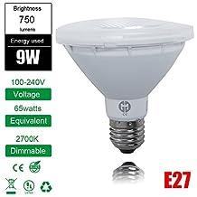 Excellent 1 Piece PAR Flood Light Bulb PAR30 E27 COB LED Warm White Non Dimmable Short Neck 750LM 9W AC100-240V
