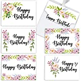 """Premium Floral Happy Birthday Cards 36-Pack   Beautiful Cardstock B-Day Notes With Self-Sealing Envelopes   Pre-Folded 4.5"""" x 6.25"""" Birthday Wishing Cards   6 Stunning Designs   Made & Printed In USA"""