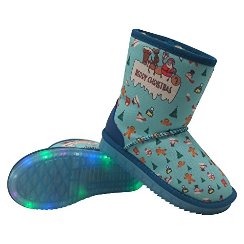 TaTa Shoes Kid Sole Boots Winter Snow Women Frog Christmas Rubber Blue Merry For Warm Little Kid Big w6qnTRwrpx