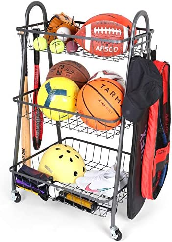 Sports Equipment Storage , Garage Storage System, Ball Storage Rack Rolling Sports Rack Organizer with Baseball rack and Hooks, Outdoor Garage Ball Storage, Sports Gear Storage for Kids