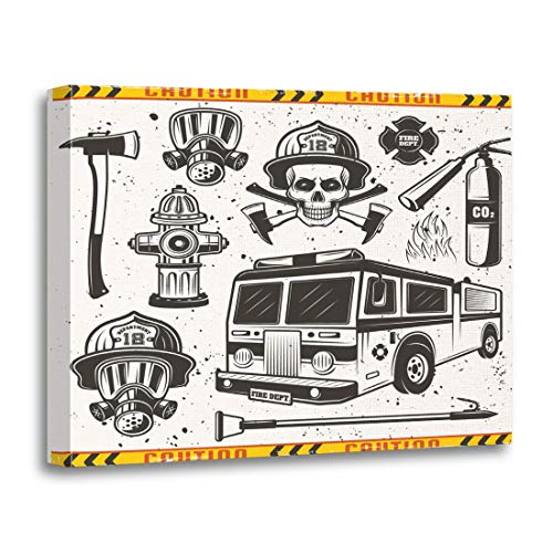 Tinmun Painting Canvas Artwork Wooden Frame Firefighters Attributes and Equipments in Vintage Monochrome on Separate 16x20 inches Decorative Home Wall Art]()