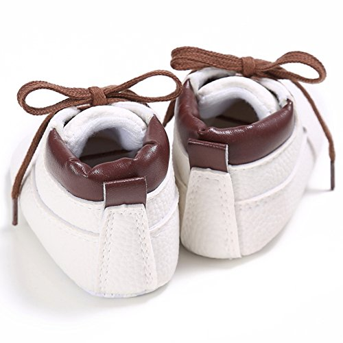 Etrack-Online Baby Sneakers - Zapatos primeros pasos de Piel Sintética para niño blanco