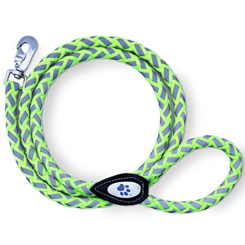 SafetyPUP XD Dog Leash - Reflective, Heavy Duty, Climbing Rope for Medium to Large Dogs. 6 Ft Green, Nylon Braided Leash for the Best Control When Walking Large Dogs (NOT FOR SMALL DOGS)