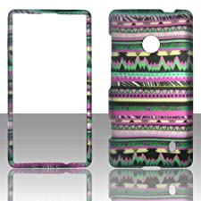 Green Pink Aztec Tribal 2D Rubberized Design for Nokia Lumia 521 Cell Phone Snap-On Hard Protective Case Cover Skin Faceplates Protector
