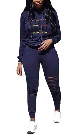Mujer Chandal Verano Impresión Rasgado Ropa Casual Pantalon + ...