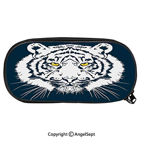Large Capacity Student Pencil-boxAggressive Depiction of a Giant Furry Feline Majestic Animal Mascot of Asia Fashion Cute Animals PU Pencil HoldersPetrol Blue White