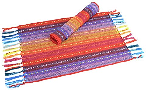 Spiceberry Fiesta Design Cotton Placemats - Red, Blue Yellow - Set of 4 - Fiesta Table