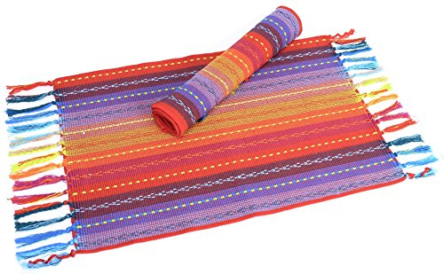 - Spiceberry Fiesta Design Cotton Placemats - Red, Blue Yellow - Set of 4