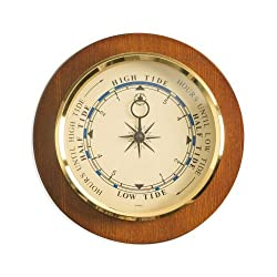 Bey Berk Tide Clock On 9 Cherry Wood With Brass Bezel