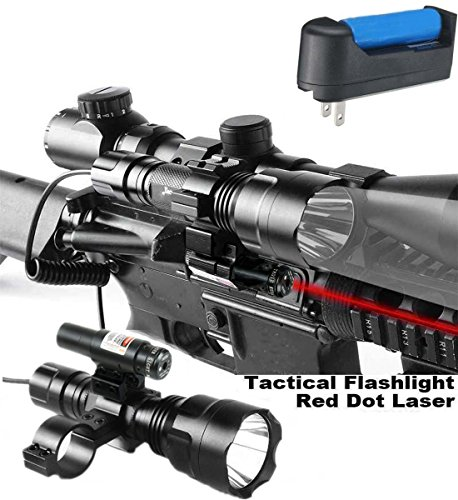 Featxy Red Dot Laser Sight with Predator White Long Range Rechargeable Hog Coyote Fox Varmint Night Hunting Light Flashlight with Scope mount, Rail Mount, Barrel Mount, Charger Kit (White A)
