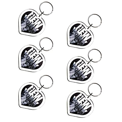 6X Ultimate Collectible New York Manhattan Black and White Landmarks Heart Shaped Photo Keychain Key Ring Gift Souvenir - Apple Shaped Key
